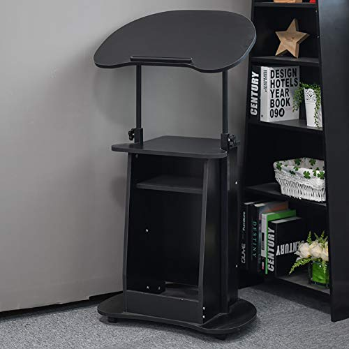 Sit-to-Stand Mobile Computer Desk for Training,Rolling Stand Desk,Adjustable Height Lectern Podium