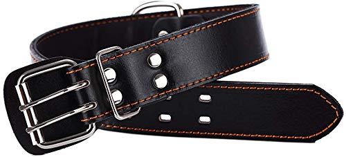 Teuffe Collar de piel para perros pequeños, medianos y extragrandes, color negro, XL