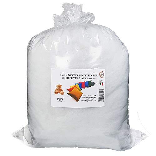 STEFANAZZI Rembourrage en ouate doux, 300 g, ouate floquée, rembourrage, coussins, peluche, 100 % polyester, décorations en mousse pour coussins et pouf en tissu