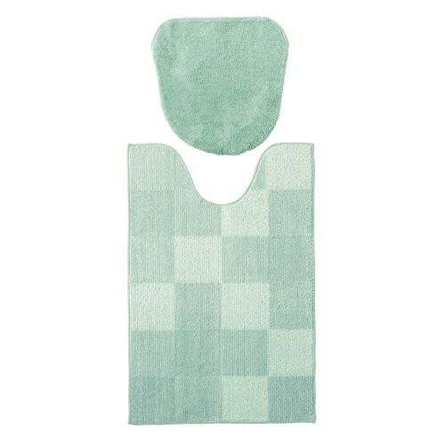 [ベルメゾン] トイレファブリック セット トイレマット フタカバー 裾ロング すべりにくい ミントグリーン トイレマット フタカバー 約90×60cm 温水洗浄便座