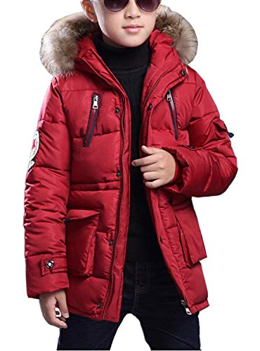 FARVALUE Boy Winter Coat Warm Quilted Puffer Water Resistant Parka Jacket with Detachable Fur Hood for Big Boys Red 10-11 Years