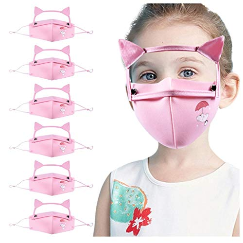 TOPEREUR Mundschutz Kinder,Mund-Nasenschutz Mundschutz Face Cover Mit Abnehmbare Schutzbrille,Verstellbar Katzenohren Stoffmaske Bandana Schals für Jungen Mädchen