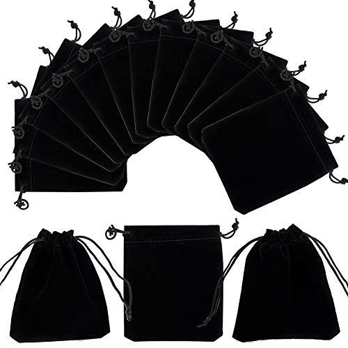 PandaHall Elite 50 Pcs Rectángulo Bolsas de Terciopelo, Bolsas de Cordón, Bolsas de Regalo, Negro, 12x10cm