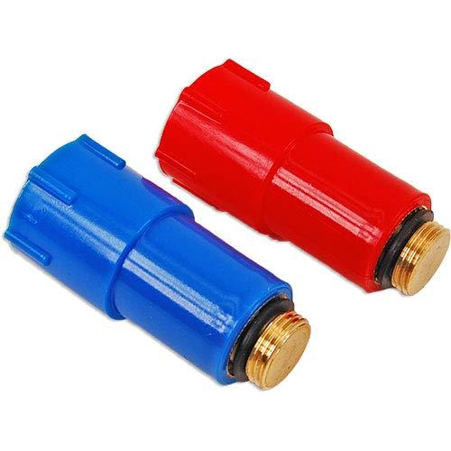 """1 Paar Baustopfen 1//2/"""" Zoll Kunststoffgewinde rot// blau Abdrückstopfen 2x Stück"""