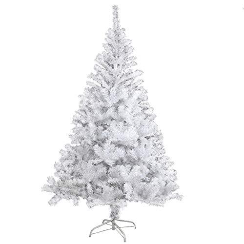 BAFYLIN Albero di Natale Artificiale Xmas Albero Natale PVC Ignifugo per Casa Parco Festa Negozio (Bianco, 210CM)