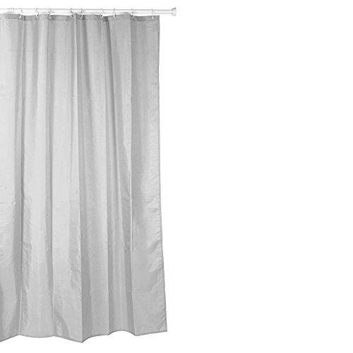 Tatay Cortina de baño de Polyester hidrofugado, Lavable, Evita la Humedad, en Color Gris Acabado Satinado. Incluye Anillas