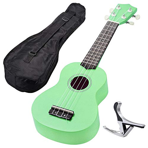 AW 21 Inch Green Soprano Ukulele Basswood w/Bag Aluminum Capo For Adult Kids Amateur Study Musical Instrument