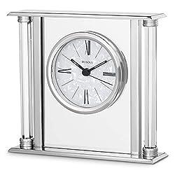 Bulova B2454 The Pearl Tabletop Clock, Mirror Polished Silver