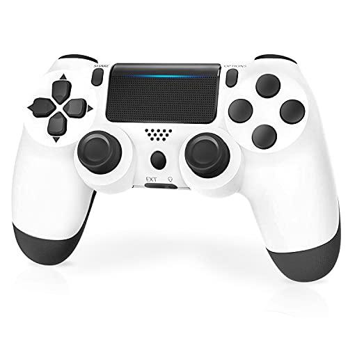 Controller für PS4, PPCgrop Wireless Gamepad für PS4 / Slim / Pro / Konsole, mit Kopfhöreranschluss / Lautsprecher / Dual Vibration / Touchpad,Weiß