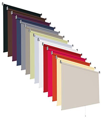 Verdunklungsrollo Springrollo Mittelzug Rollo 14 Farben Breite 60 bis 200 cm Stoff lichtundurchlässig verdunkelnd Montageträger Metall Tür Fenster Sonnenschutz (Größe 200 x 180 cm / Farbe Cream)
