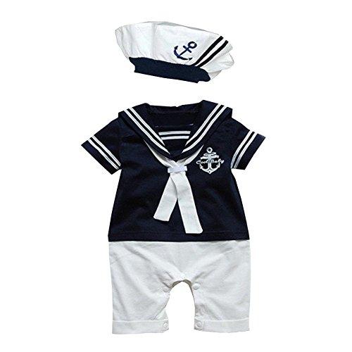 Grenouillère Le SSara, à manches courtes avec motif ancre, pour bébé, garçons, filles A-Blue 6-12 Month