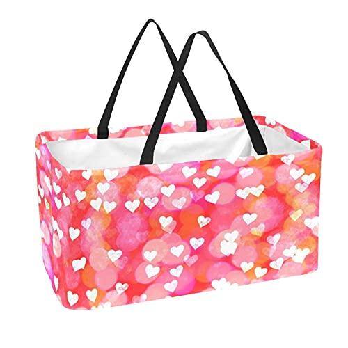 Einkaufskorb Herz Rosa Romantik Picknickkorb Faltbar Einkaufstasche Groß Picknicktasche Klappkorb Klappbox Tragetasche 56x29x32 cm