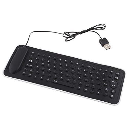 CALISTOUK Portátil USB Mini Flexible Silicona PC Teclado Plegable para Portátil Portátil Portátil