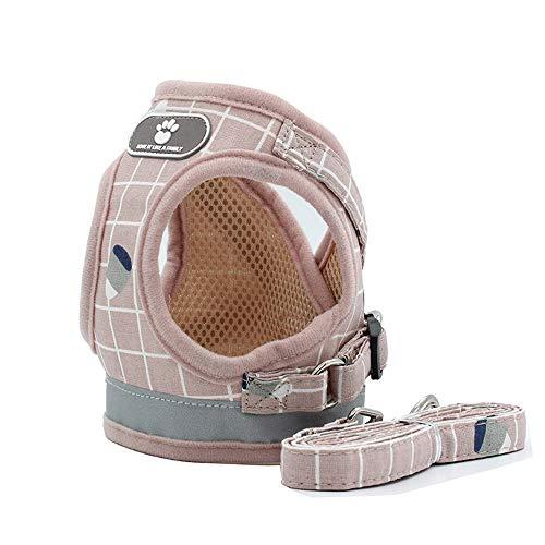BLEVET Weich Vest Harness Geschirr Verstellbar Sicher Kontrolle Welpengeschirr Weste Brustgeschirr für Katze/Hunde MZ083 (S, Pink)