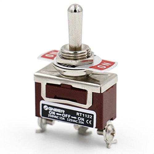 Heschen Interrupteur à bascule en métal, RT1122, SPDT, Maintenu ON/OFF/ON, 3 positions, 15 A 250 VAC, CE