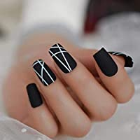 偽爪マットホワイトラインロングネイルブラックスクエアインターウィーブミニマリストスタイルデザインフェイクネイルつや消しグラマー人工ネイルのヒント