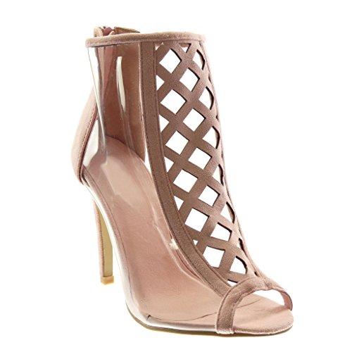 Angkorly - Damen Schuhe Stiefeletten - Stiletto - Peep-Toe - schick - transparent - gekreuzte Riemen...