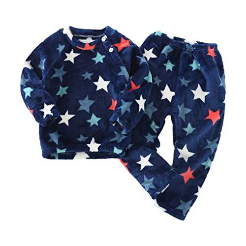 Conjuntos de Pijamas para Niño y Niña, Felpa Ropa de Dormir Dos Piezas Manga Larga T-Shirt + Pantalones Largos Casual Ropa de Casa Invierno Calentar Pijama de Franela