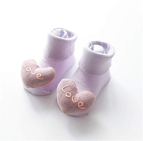 LOSOUL Non Skid Anti Slip Cotton Dress Crew Socks With Grips For Baby Infant Toddler Kids Girls
