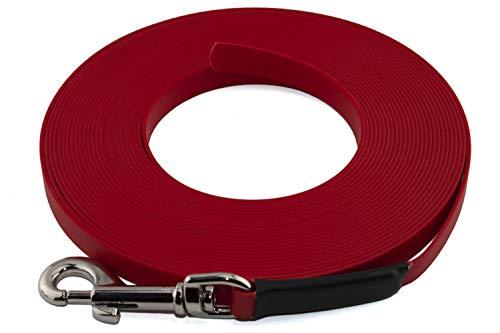 LENNIE Leichte BioThane Schleppleine, 19mm, Hunde ab 35kg, 10m lang, ohne Handschlaufe, Rot, genäht