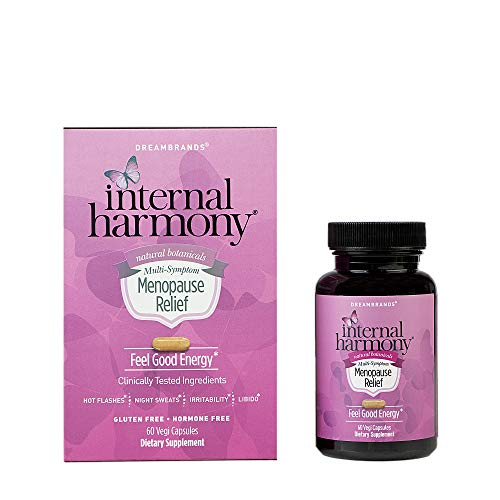 Internal Harmony Menopause Relief for Women - Hot Flashes and Night Sweat Relief, Reduce Stress, Calming and Energy Support contains geniVida, KSM-66 Ashwagandha, DIM, Dong Quai, Black Cohosh, 60 capsules