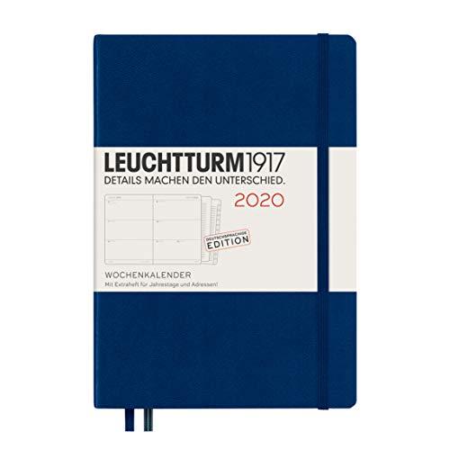 LEUCHTTURM1917 359978 Wochenkalender Medium (A5) 2020, mit Extraheft, Marine, Deutsch