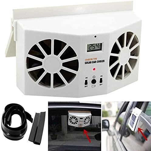 XJYDS Auto Portatile Ventola Solare Auto Finestra Auto Powered Air Ventilatore Ventilatore Dual-Mode Alimentazione ad Alta Potenza 2 Colori, Bianco (Color : White)