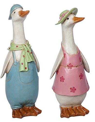Shudehill Giftware Pair of Davids Country Duck Boy and Girl Ornament Figurines