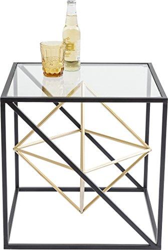 Kare Design Beistelltisch Prisma, kleiner, edler Couchtisch aus Glas, Tisch mit Metall-Streben, (H/B/T) 45x45x45cm, Andere, Gold