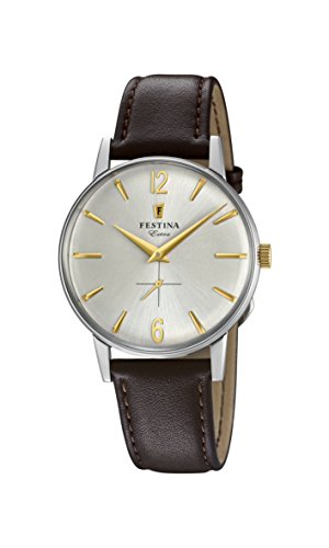 Festina Herren Analog Quarz Uhr mit Leder Armband F20248/2
