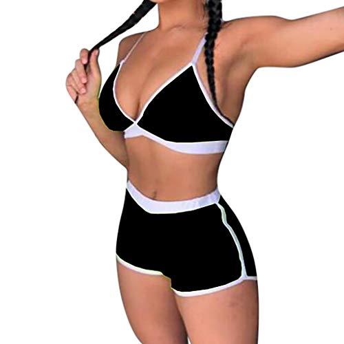 SCHOLIEBEN Sport Bikini High Waist Damen Set Push Up Sexy Bandeau BH Triangle Thong Bustier Badeanzug Bademode Teenager Mädchen Grosse Grössen