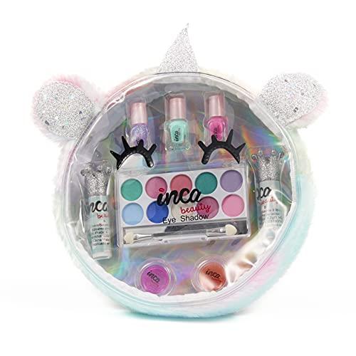 Estuche maquillaje y manicura para niñas. Neceser de unicornio. Kit de Maquillaje con sombras de ojos y lip balms + Set de manicura niña. Nó tóxico. Marca INCA