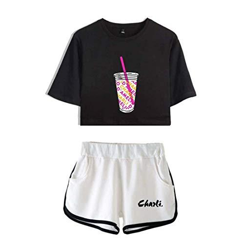 Flyself The Hype House, set med kort T-shirt och shorts med Charli DAmelio-tryck, vardagsklädsel, sommar, sportkläder, träningsoverall för tjejer
