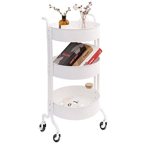 3-Tier Metal Utility Rolling Cart with Wheels, Round Storage Organizer Tool Cart, White
