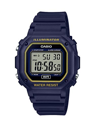 Casio Illuminator Stainless Steel Quartz Watch with Resin Strap, Blue/Yellow, 23.7 (Model: F-108WH-2A2CF)