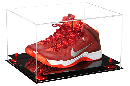 Better Display Cases Clear Acrylic Basketball Shoe Pair Display Case with Red Risers (A082-RR)