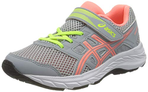 ASICS Contend 5 PS Running Shoe, Piedmont Grey/Sun Coral, 34.5 EU