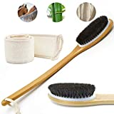 CYMIX Bath Softer Brush Body Exfoliating Loofah Back Scrubber Set Dry Wet Shower Brushes Long Bamboo Handle Natural Horse Mane Home SPA Women Men Skin Care