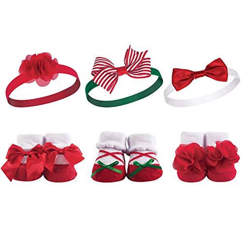 Hudson Baby Unisex Baby Headband and Socks Gift set, Holly, One Size