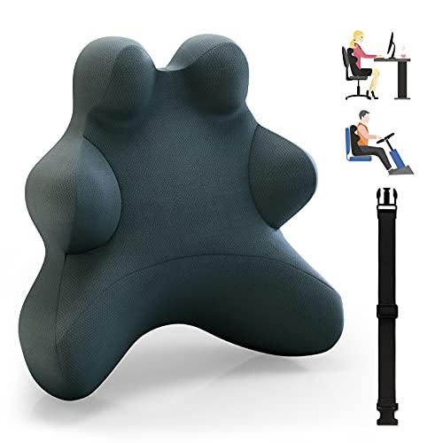 sanlinkee Cojin Lumbar Coche, Respaldo Lumbar Ergonómico para Silla Oficina, Nuevo Respaldo Lumbar Soporte de Esponja Memoria, Apoye Cómodamente La Espalda para Liberar estrés Reducir Dolor Espalda