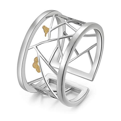 Lotus Fun S925 Sterling Silber Damen Ringe Orientalisches Papierschnitt-Design Offener Rings Handgemachte Ring für Frauen und Mädchen.