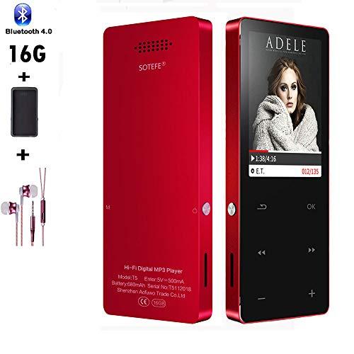 Sotefe 16GB Lettori MP3 Bluetooth 4.0 Musica Lettore MP3 MP4 Digitale Portatili Player Radio FM Registrazione Altoparlante Video Hi-Fi Super Suono Supporta Carta a 128GB giocare più di 100ore
