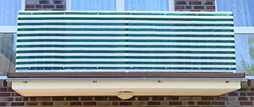 Smart Deko Dunkelgrün&Weiß 7 x 0,9m Balkonsichtschutz, Balkonverkleidung, Windschutz, Sichtschutz und UV-Schutz für Balkon, Gartenanlagen, Camping und Freizeit