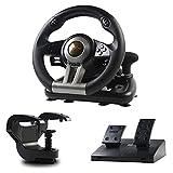 PXN V3 Game Racing Volante 180 ° Universal USB Racing Game volante con pedales y levas de cambio para Windows PC, PS3, PS4, Xbox One, Nintendo Switch (Negro)