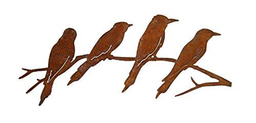 Metalldekoration 4 Vögel auf AST Edelrost Höhe 17 cm Breite 41,5 cm Material 1,5 mm Figur Deko GGD 1687