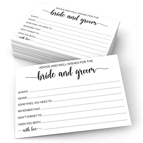 "321Done Advice and Wishes for The Bride and Groom Cards (50 Cards) 4"" x 6"" for Wedding with Prompts Simple Elegant - Made in USA, White"