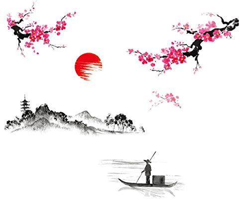 U/K Wandaufkleber, kreative Klassischen Chinesischen Stil Tuschmalerei DIY Dekoration Abnehmbare PVC Schlafzimmer Wohnzimmer Wandaufkleber Wohnkultur Wandtattoos Hohe Qualität