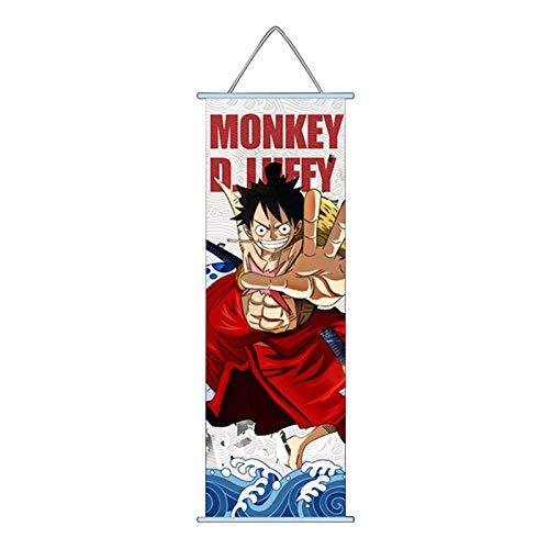 Sweet&rro17 One Piece Rollbild Kakemono Wallscroll 30 x 70 cm, Anime Poster Wandbild Zimmer Deko Wand für Wohnzimmer Schlafzimmer(Ruffy)