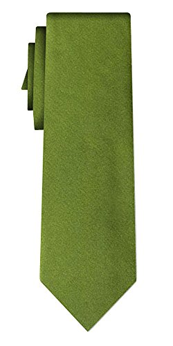 Cravate soie unie solid olive green, plain