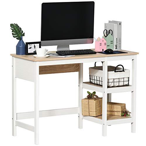 HOMCOM Schreibtisch mit 2 Ebenen Regal, Computertisch, Bürotisch, MDF, Natur+Weiß, 110 x 48 x 76,2 cm